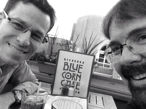 On the roof of Blue Corn Cafe in a Santa Fe NM.